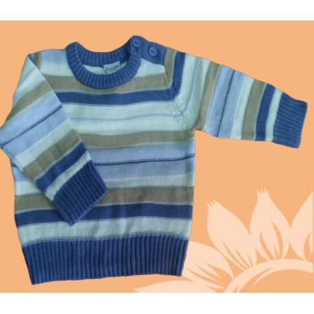 Jersey manga larga bebé y recién nacido niño rayas azul