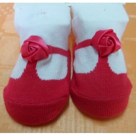 Calcetines bebé imitación zapato fucsia