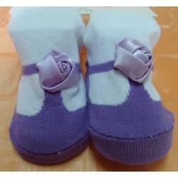 Calcetín bebé imitación zapato lila