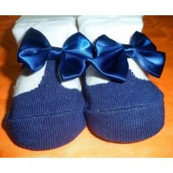 Calcetín bebé imitación zapato azul marino