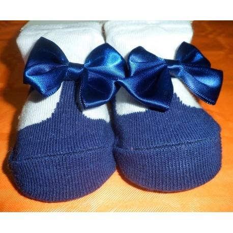 Calcetines bebé imitación zapato azul marino