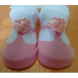 Calcetín bebé imitación zapato rosa claro