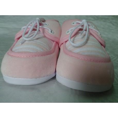 Zapatos primera puesta rosa claro recién nacido suela blanda