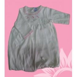 Vestido manga larga algodón bebé y recién nacido beige