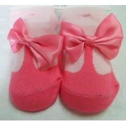 Calcetín bebé imitación zapato rosa oscuro