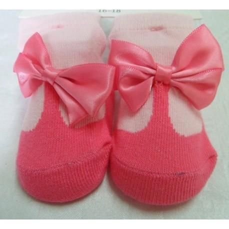 Calcetines bebé imitación zapato rosa oscuro
