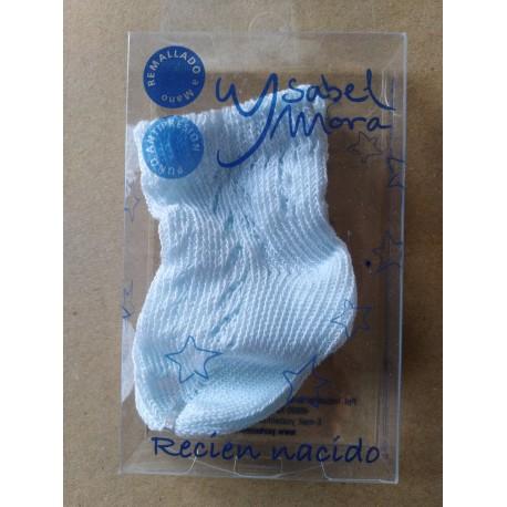 Calcetines recién nacido calado celeste