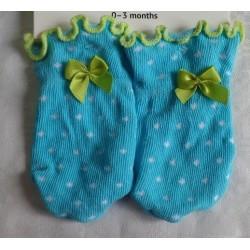 Manoplas recién nacido antiarañazos turquesa