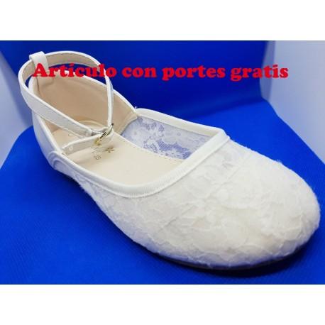 Bailarinas infantiles blancas encaje niñas. comuniones y vestir fiesta.