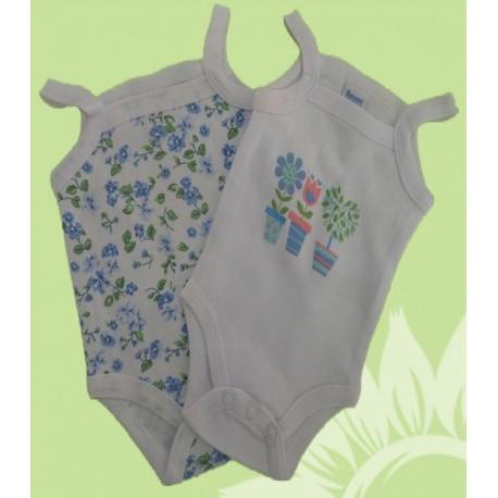 Pack 2 bodys bebés y recién nacidas niñas flores tirantes para el verano