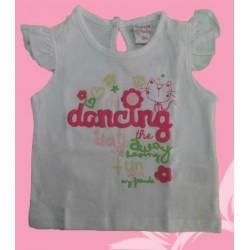 Camisetas bebés y recién nacidas niñas dancing blanca, de la marca Newness