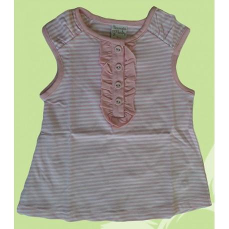Camisetas bebés y recién nacidas niñas rayas rosa, de la marca Newness.