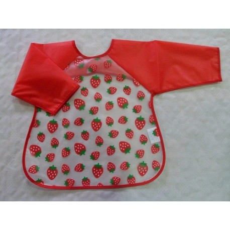 Baberos bebé plástico con manga rojo