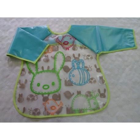 Baberosbebé plástico con manga turquesa