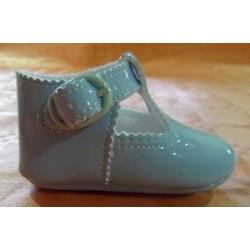 Zapato bebé charol pulsera celeste