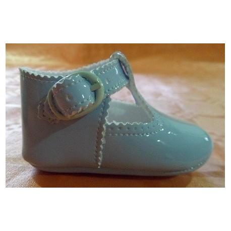Zapatos bebé charol pulsera celeste