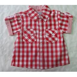 Camisas para bebés y recién nacidos niños cuadros roja manga corta de la marca Newness