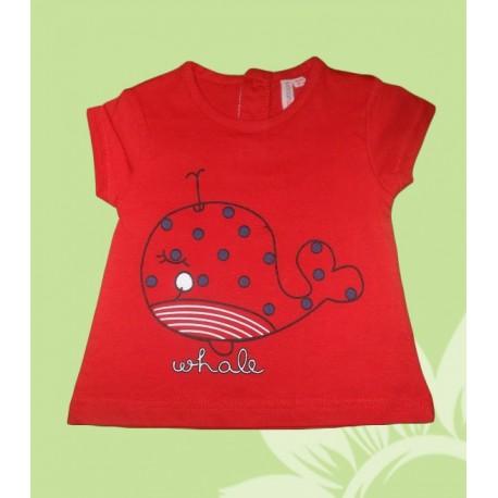 Camiseta bebé niña manga corta ballena