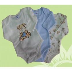 Pack 3 bodys manga larga bebé y recién nacido niño oso invierno