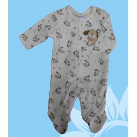 Pijama algodón manga larga bebé y recién nacido niño perrito. Estampado