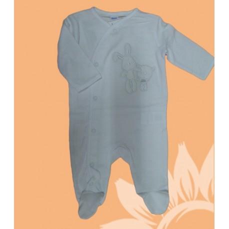 Pijama algodón manga larga bebé y recién nacido niño conejo y koala. Blanco. Invierno