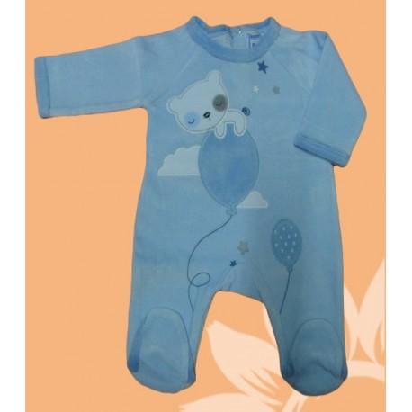 Pijama velour manga larga bebé y recién nacido niño globo. Celeste. Invierno