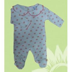 Pijama algodón manga larba bebé y recién nacido niña lazos. Estampado