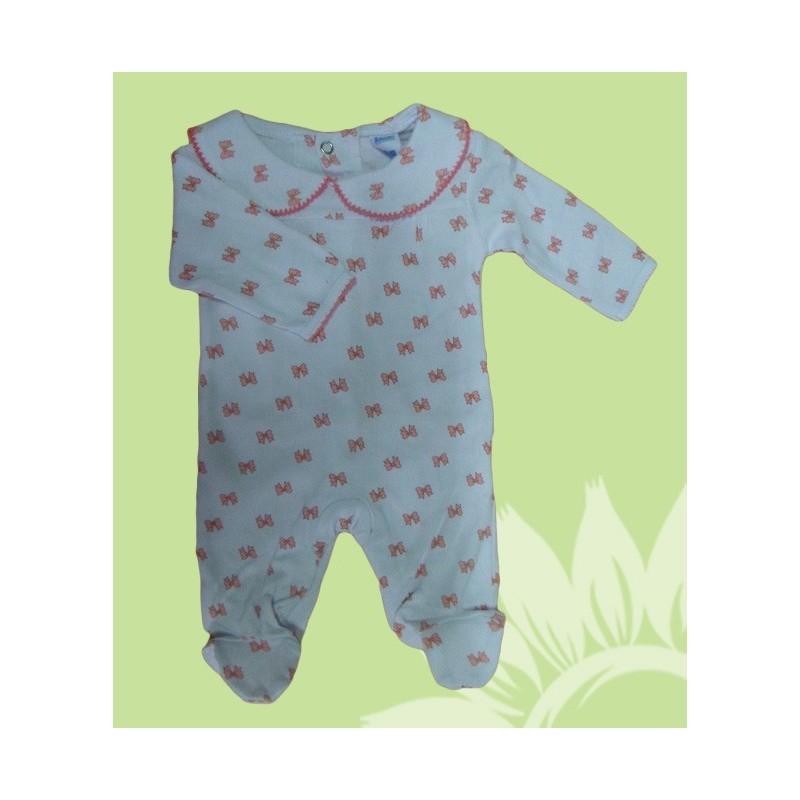 a9cda4aae Pijama algodón manga larba bebé y recién nacido niña lazos. Estampado ...