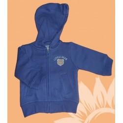 chaqueta Sudadera chandal bebé y recién nacido azul  medio con capucha, cremallera y bolsillos