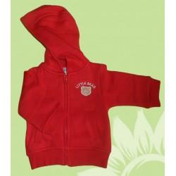 Chaqueta Sudadera chándal bebé y recién nacido roja con capucha, cremallera y bolsillos