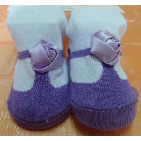 Calcetines bebé imitación zapato lila