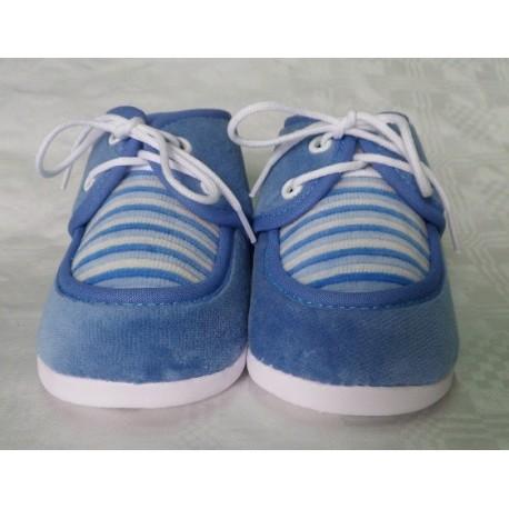 Zapatos primera puesta azul recién nacido suela blanda