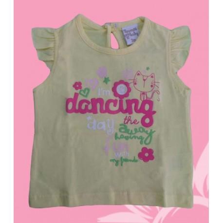 Camisetas bebés y recién nacidas niñas dancing amarilla, de la marca Newness