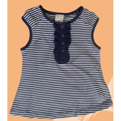 Camisetas bebés y recién nacidas niñas rayas marino, de la marca Newness