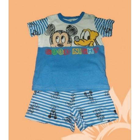 Pijamas bebés niños MIckey cortos azules verano
