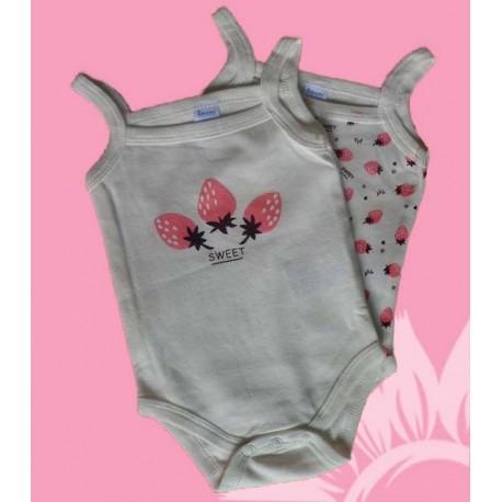 Pack 2 bodys bebés y recién nacidas niñas tirantes fresas verano