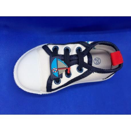Zapatillas lona bebés blancas