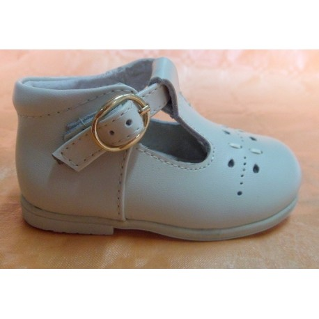 Zapatos pepitos bebé de piel hebilla beige Bubble Bobble