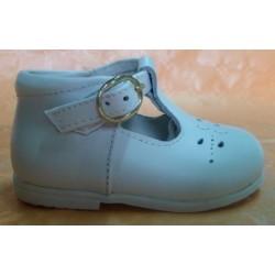Zapatos pepitos bebé de piel hebilla blanco Bubble Bobble
