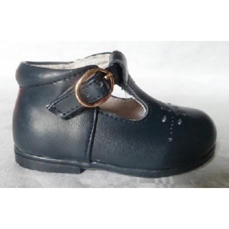 Zapatos pepitos bebé de piel hebilla azul marino Bubble Bobble