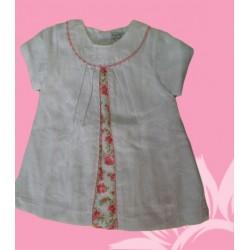 Vestido bebé piqué blanco flores