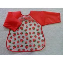 Babero bebé plástico con manga rojo