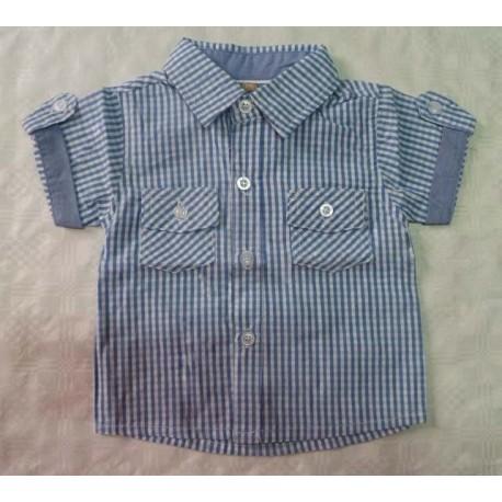 Camisas para bebés y recién nacidos niños cuadros celeste manga corta de la marca Newness
