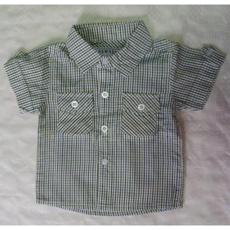 Camisas para bebés y recién nacidos niños a cuadros verde manga corta, de la marca Newness.