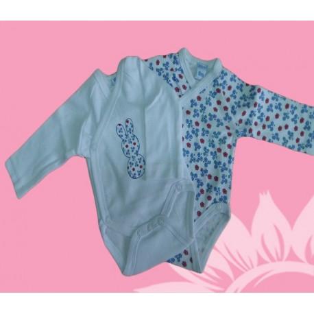 Pack 2 bodys manga larga bebé y recién nacido niña conejito invierno