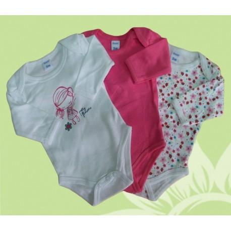 Pack 3 bodys manga larga bebé y recién nacido niña pretty flowers invierno