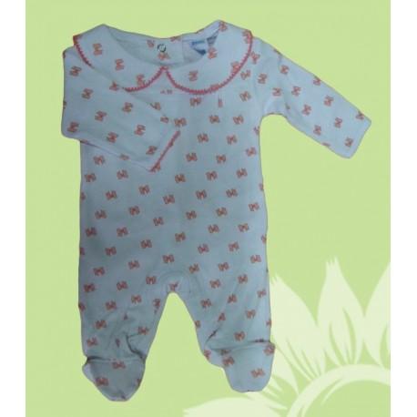 Pijama algodón manga larba bebé y recién nacido niña lazos. Estampado invierno.